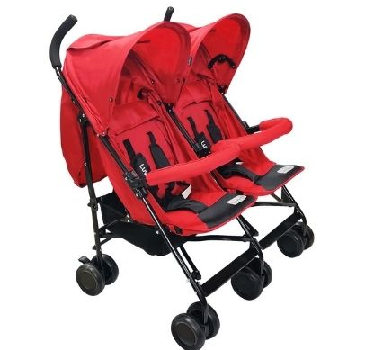 LuvLap Twin Star StrollerBuggy, for BabyKids, 6-36 Months (Red)